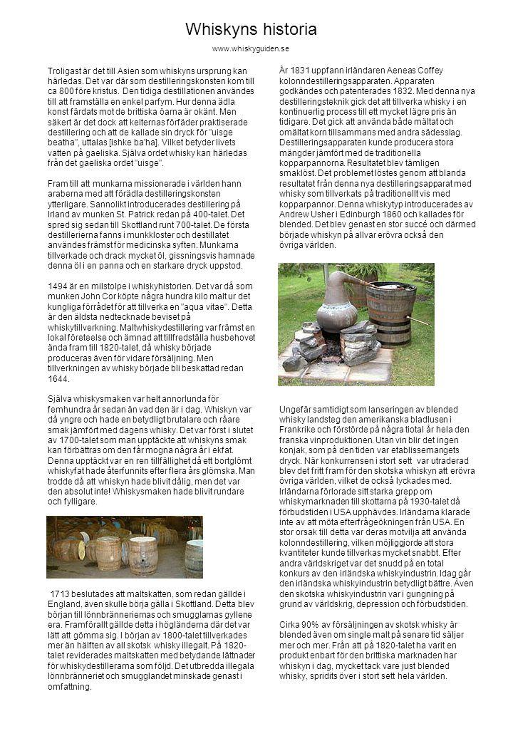 År 1831 uppfann irländaren Aeneas Coffey kolonndestilleringsapparaten. Apparaten godkändes och patenterades 1832. Med denna nya destilleringsteknik gi