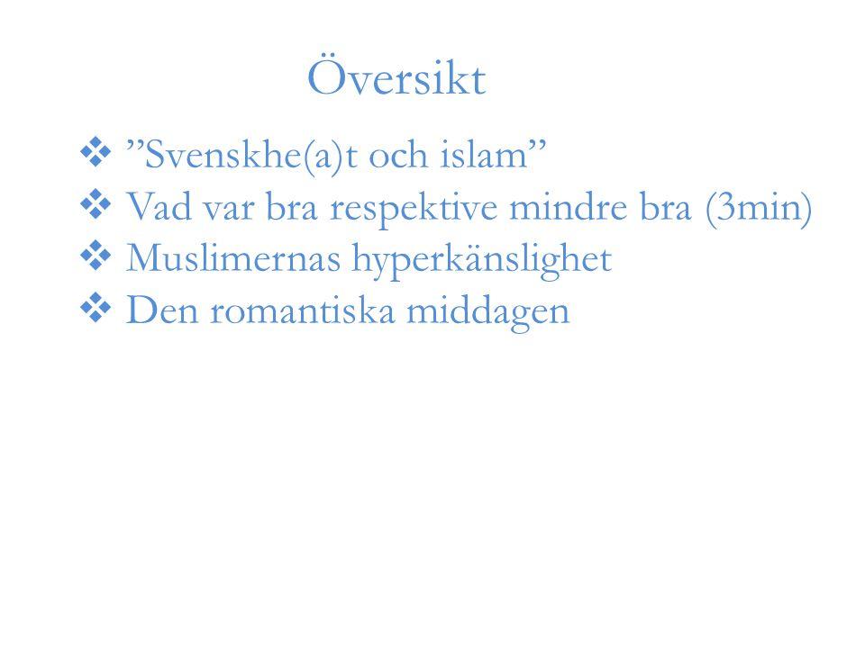 Översikt  Svenskhe(a)t och islam  Vad var bra respektive mindre bra (3min)  Muslimernas hyperkänslighet  Den romantiska middagen