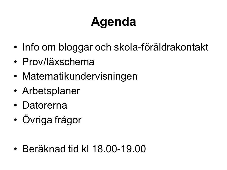Agenda Info om bloggar och skola-föräldrakontakt Prov/läxschema Matematikundervisningen Arbetsplaner Datorerna Övriga frågor Beräknad tid kl 18.00-19.