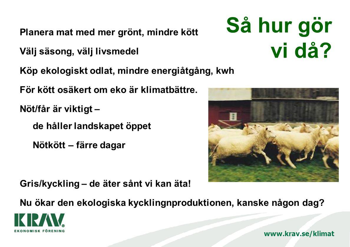 www.krav.se/klimat Så hur gör vi då? Planera mat med mer grönt, mindre kött Välj säsong, välj livsmedel Köp ekologiskt odlat, mindre energiåtgång, kwh