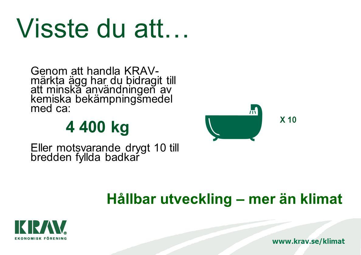 Visste du att… Genom att handla KRAV- märkta ägg har du bidragit till att minska användningen av kemiska bekämpningsmedel med ca: 4 400 kg Eller motsvarande drygt 10 till bredden fyllda badkar X 10 Hållbar utveckling – mer än klimat