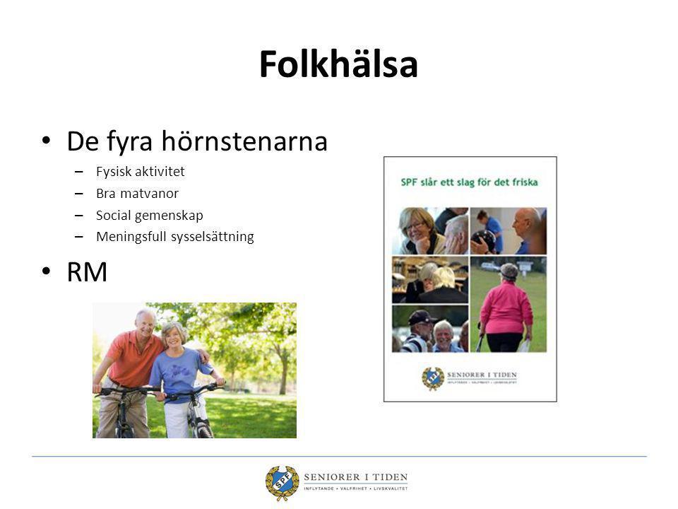 Folkhälsa De fyra hörnstenarna – Fysisk aktivitet – Bra matvanor – Social gemenskap – Meningsfull sysselsättning RM