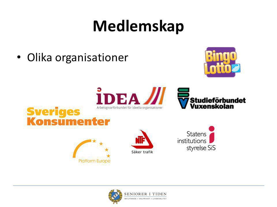 Medlemskap Olika organisationer