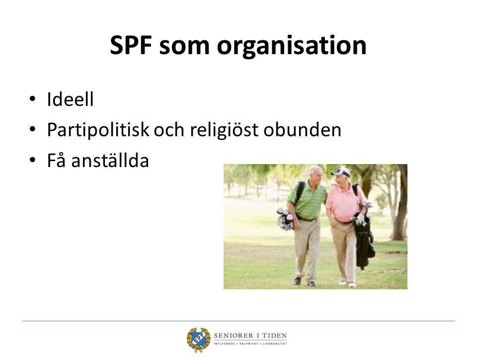 SPF som organisation Ideell Partipolitisk och religiöst obunden Få anställda