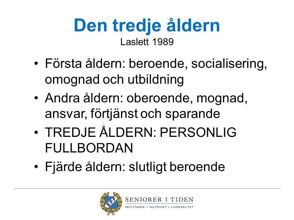 Den tredje åldern Laslett 1989 Första åldern: beroende, socialisering, omognad och utbildning Andra åldern: oberoende, mognad, ansvar, förtjänst och s