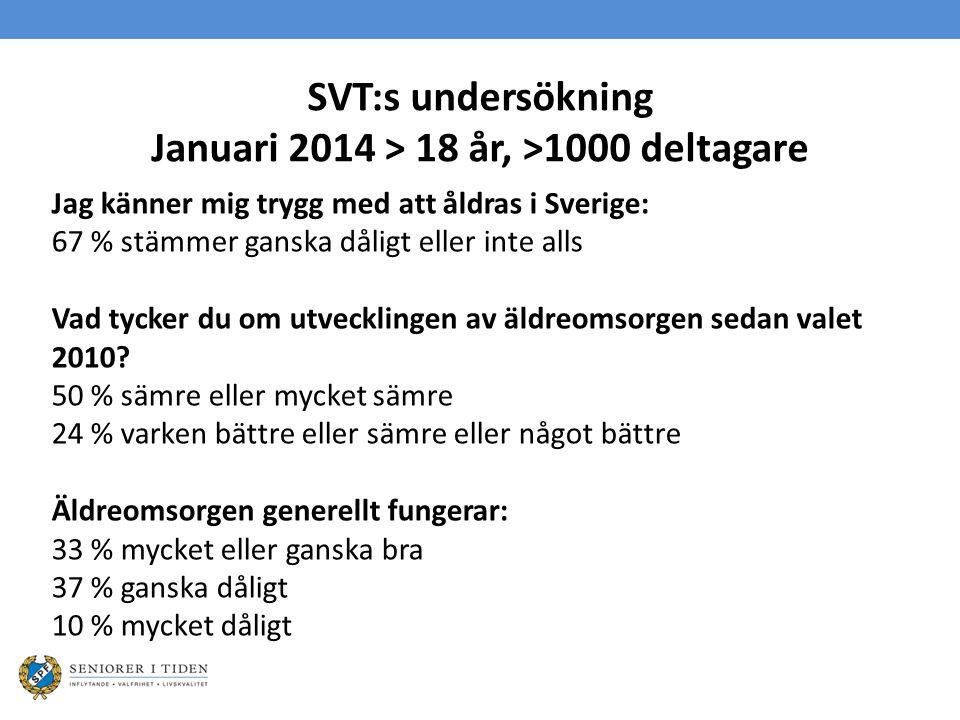 SVT:s undersökning Januari 2014 > 18 år, >1000 deltagare Jag känner mig trygg med att åldras i Sverige: 67 % stämmer ganska dåligt eller inte alls Vad