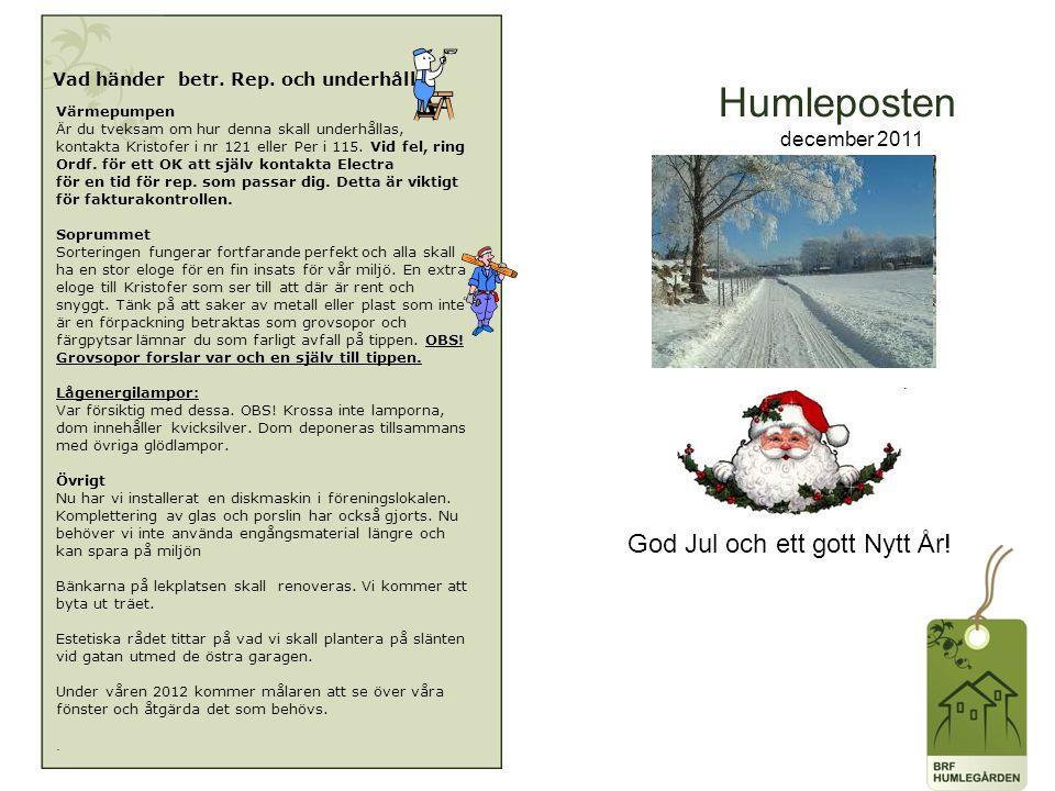 Humleposten december 2011 Vad händer betr. Rep. och underhåll.