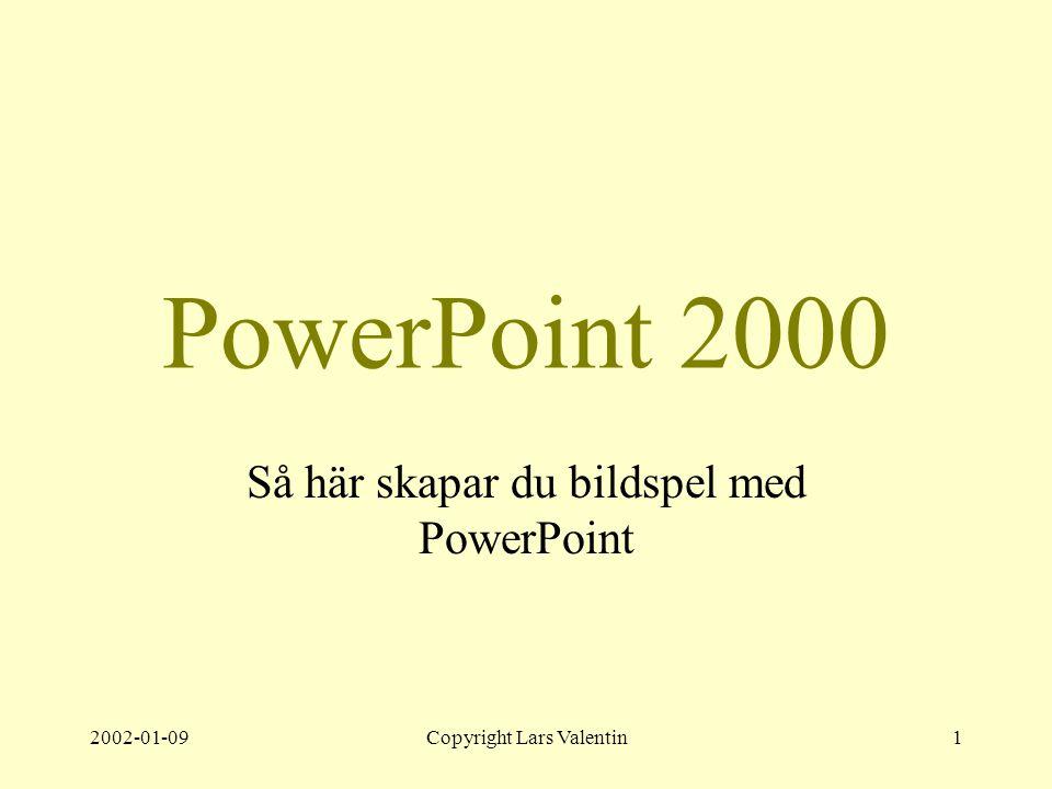 2002-01-09Copyright Lars Valentin1 PowerPoint 2000 Så här skapar du bildspel med PowerPoint