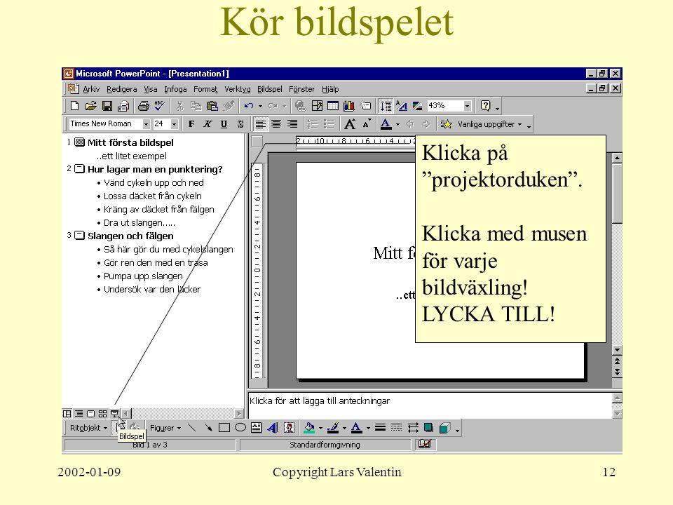 2002-01-09Copyright Lars Valentin12 Kör bildspelet Klicka på projektorduken .