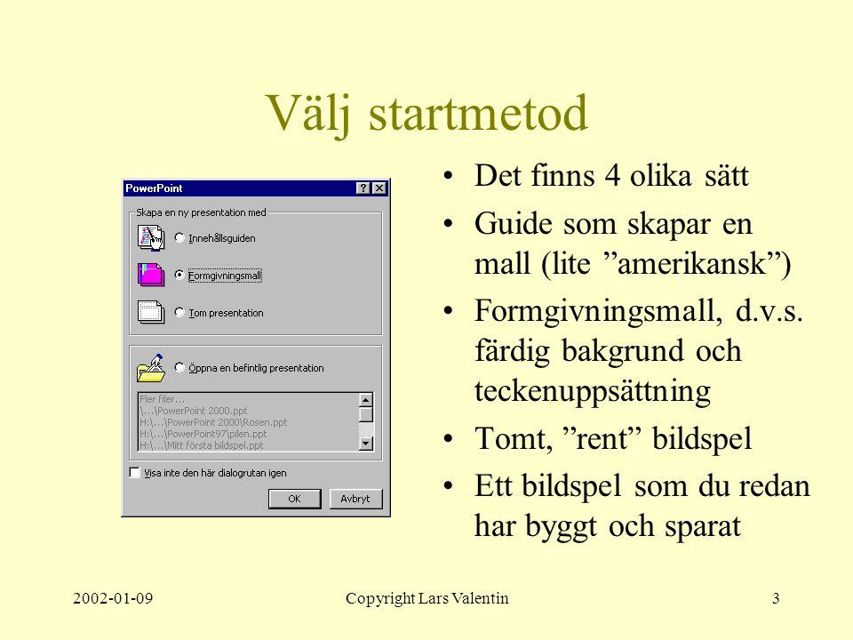 2002-01-09Copyright Lars Valentin3 Välj startmetod Det finns 4 olika sätt Guide som skapar en mall (lite amerikansk ) Formgivningsmall, d.v.s.