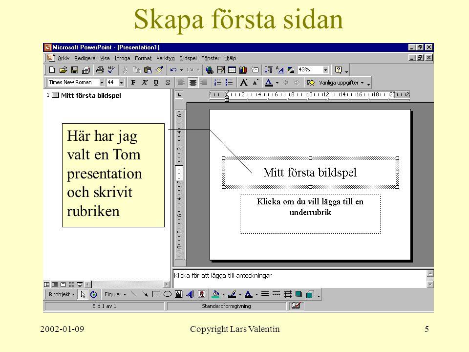 2002-01-09Copyright Lars Valentin5 Skapa första sidan Här har jag valt en Tom presentation och skrivit rubriken