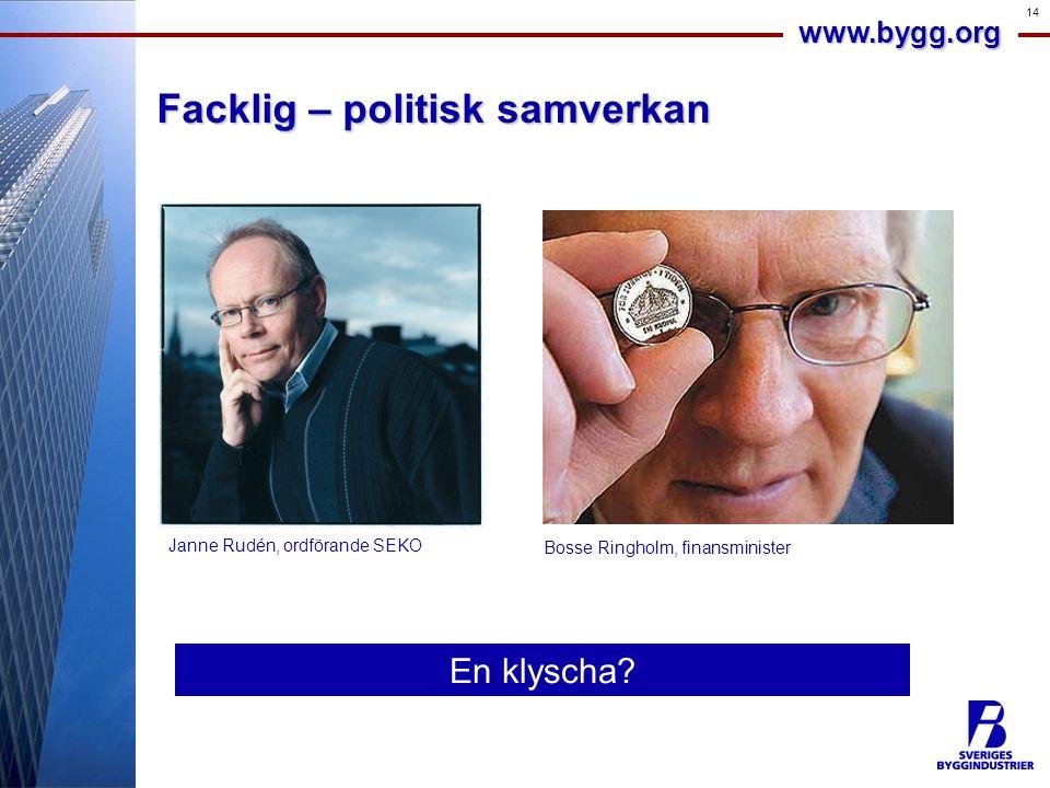 www.bygg.org 14 Facklig – politisk samverkan En klyscha.