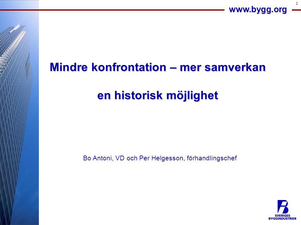 www.bygg.org 2 Mindre konfrontation – mer samverkan en historisk möjlighet Bo Antoni, VD och Per Helgesson, förhandlingschef