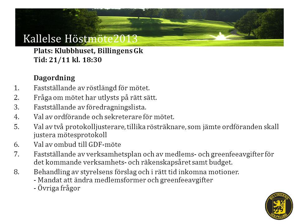 Kallelse Höstmöte2013 Plats: Klubbhuset, Billingens Gk Tid: 21/11 kl. 18:30 Dagordning 1.Fastställande av röstlängd för mötet. 2.Fråga om mötet har ut