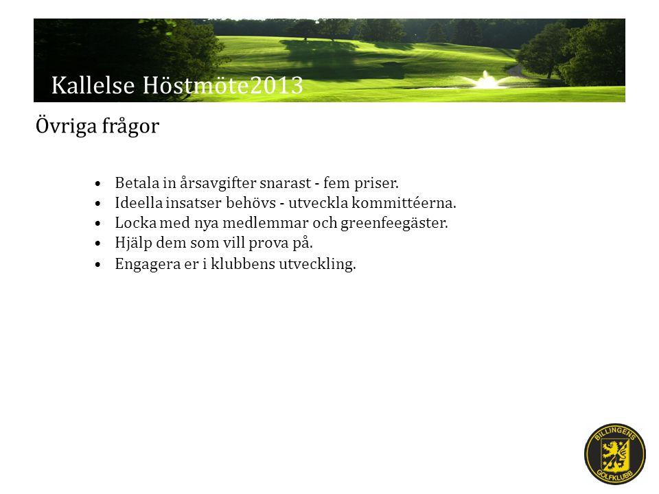 Kallelse Höstmöte2013 Övriga frågor Betala in årsavgifter snarast - fem priser.