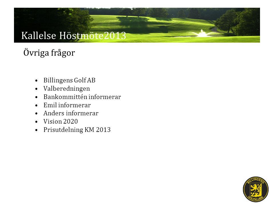 Kallelse Höstmöte2013 Billingens Golf AB Valberedningen Bankommittén informerar Emil informerar Anders informerar Vision 2020 Prisutdelning KM 2013 Övriga frågor