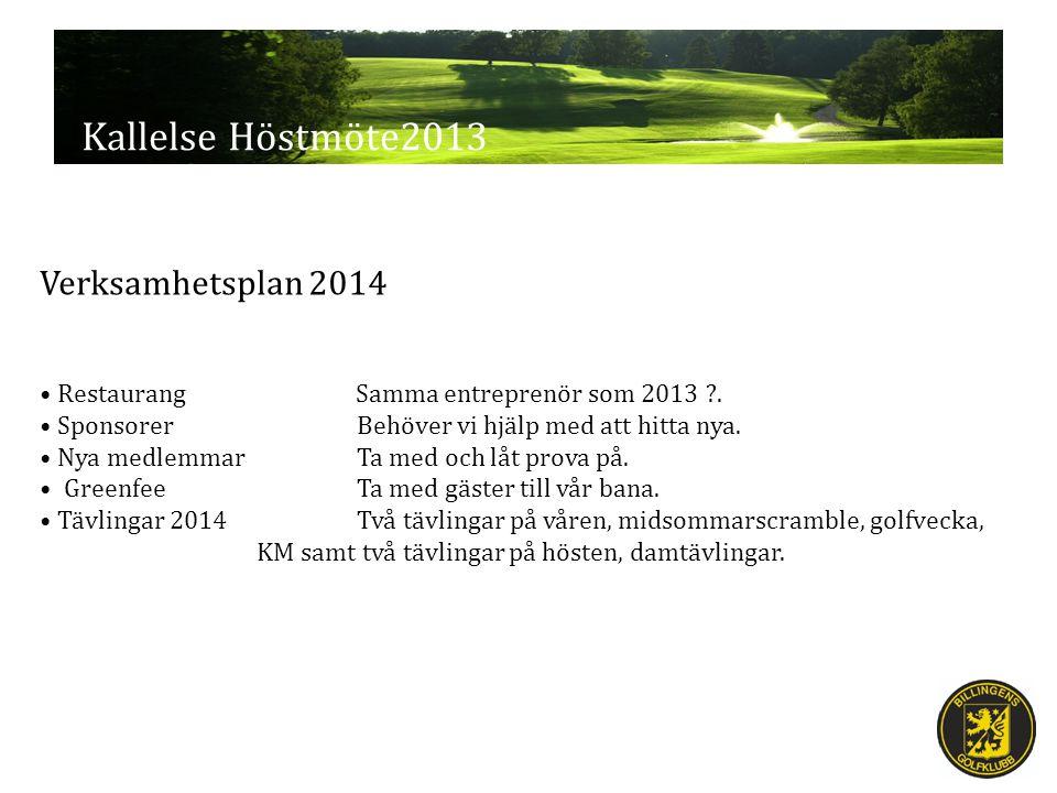 Kallelse Höstmöte2013 Verksamhetsplan 2014 Restaurang Samma entreprenör som 2013 .