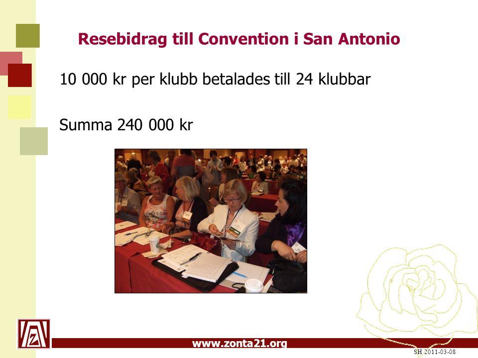 www.zonta21.org Resebidrag till Convention i San Antonio 10 000 kr per klubb betalades till 24 klubbar Summa 240 000 kr SH 2011-03-08