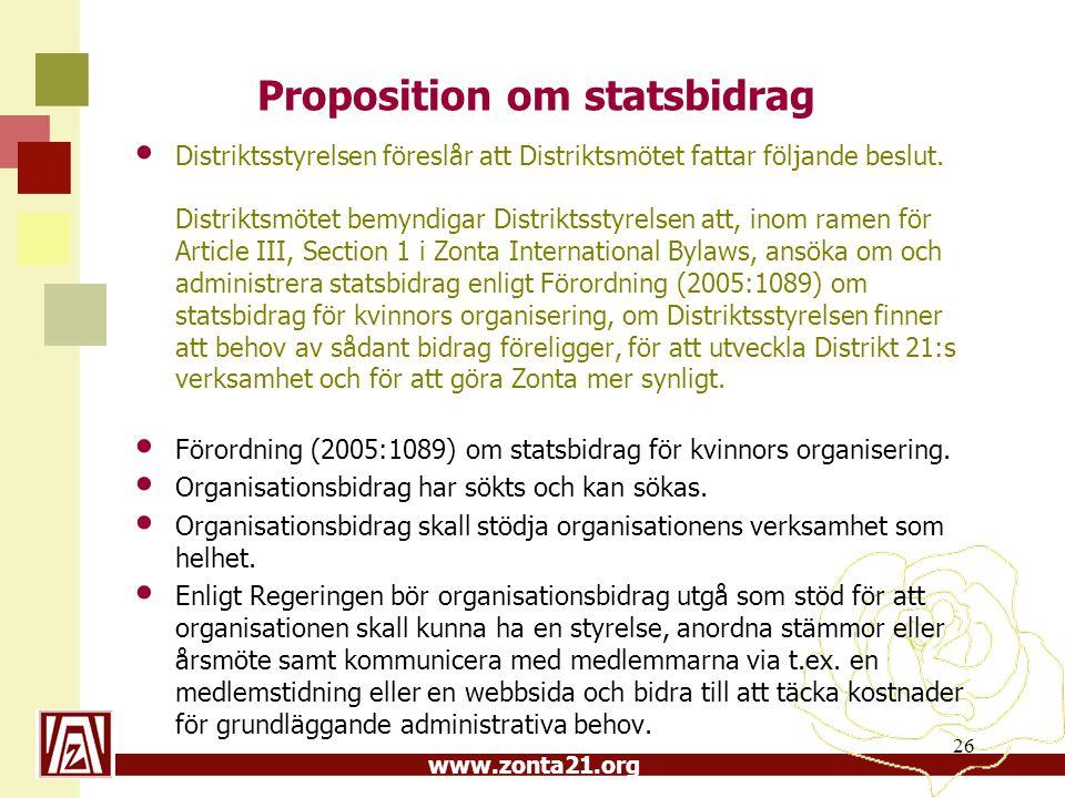 www.zonta21.org Proposition om statsbidrag Distriktsstyrelsen föreslår att Distriktsmötet fattar följande beslut. Distriktsmötet bemyndigar Distriktss
