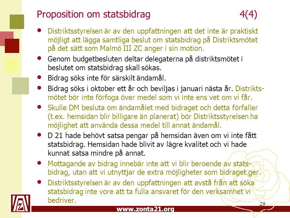 www.zonta21.org Proposition om statsbidrag4(4) Distriktsstyrelsen är av den uppfattningen att det inte är praktiskt möjligt att lägga samtliga beslut