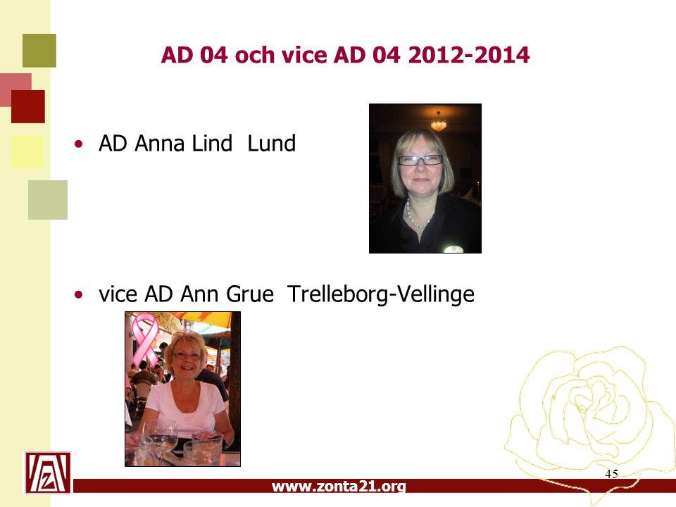 www.zonta21.org AD 04 och vice AD 04 2012-2014 AD Anna Lind Lund vice AD Ann Grue Trelleborg-Vellinge 45