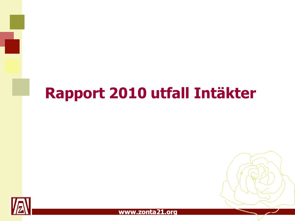 www.zonta21.org Rapport 2010 utfall Intäkter