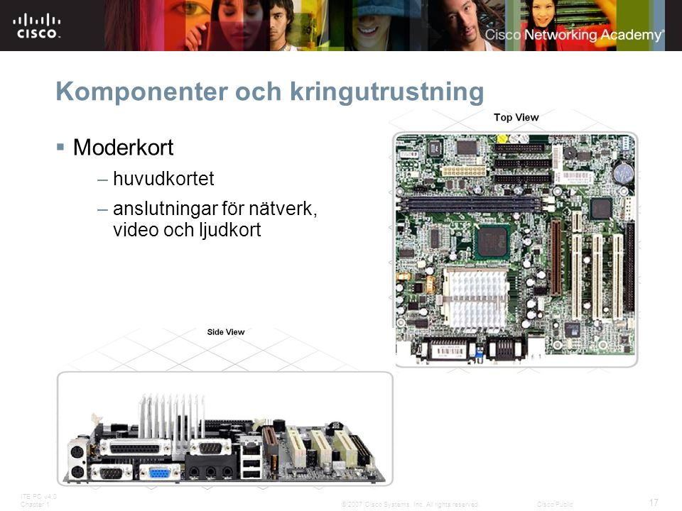 ITE PC v4.0 Chapter 1 17 © 2007 Cisco Systems, Inc. All rights reserved.Cisco Public Komponenter och kringutrustning  Moderkort – huvudkortet – anslu