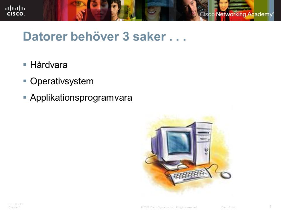 ITE PC v4.0 Chapter 1 4 © 2007 Cisco Systems, Inc. All rights reserved.Cisco Public Datorer behöver 3 saker...  Hårdvara  Operativsystem  Applikati