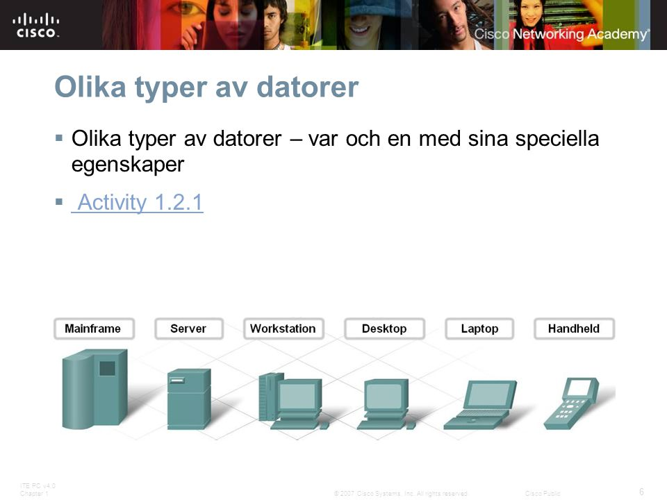 ITE PC v4.0 Chapter 1 6 © 2007 Cisco Systems, Inc. All rights reserved.Cisco Public Olika typer av datorer  Olika typer av datorer – var och en med s
