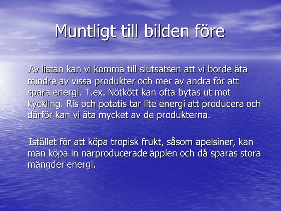 Muntligt till bilden före Muntligt till bilden före Av listan kan vi komma till slutsatsen att vi borde äta mindre av vissa produkter och mer av andra för att spara energi.