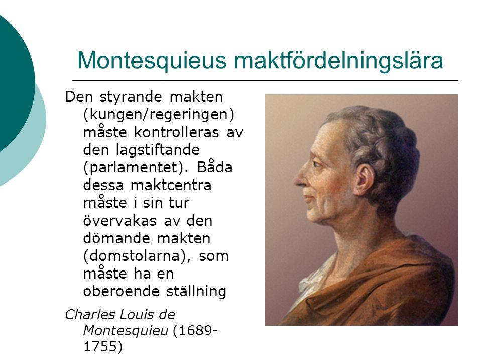 Demokratin i Sverige 1809 antar riksdagen en ny grundlag som tar makten från kungen och delar den i tre delar - den styrande makten (kungen) - den lagstiftande makten (riksdagen) - den dömande makten (oberoende domstolar 1865/66 avskaffades den uråldriga ståndsriksdagen med adel, präster, borgare och bönder.