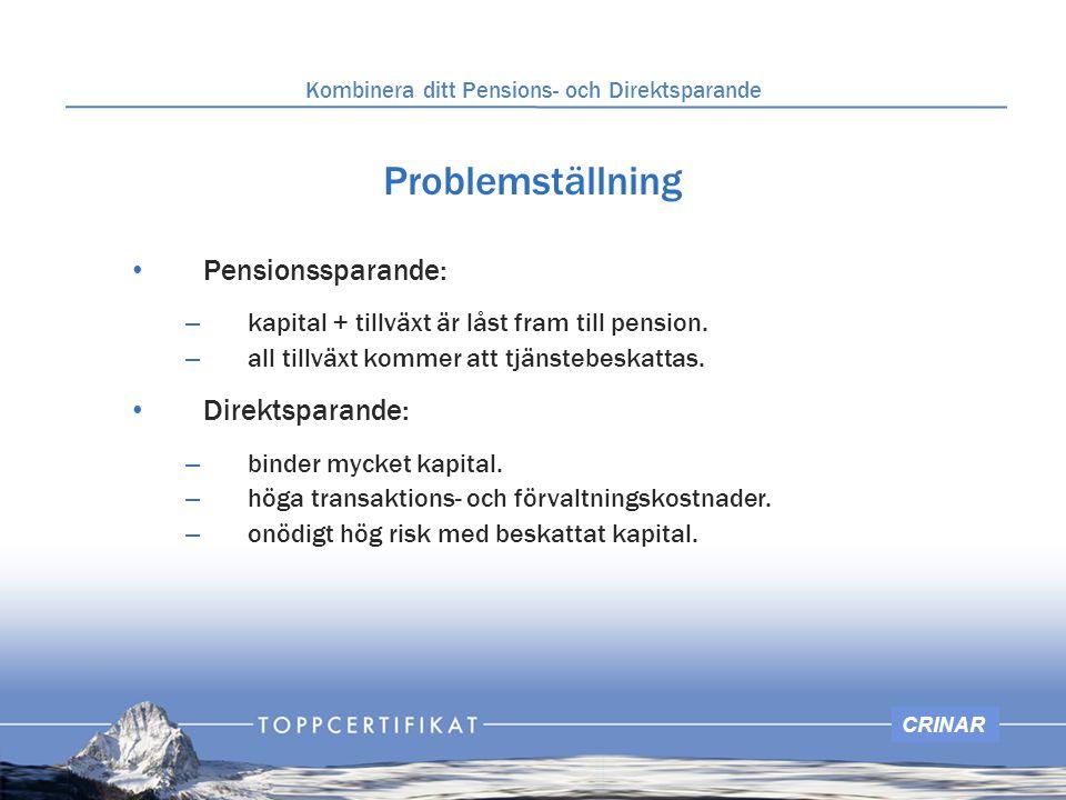 CRINAR Problemställning Pensionssparande: – kapital + tillväxt är låst fram till pension. – all tillväxt kommer att tjänstebeskattas. Direktsparande: