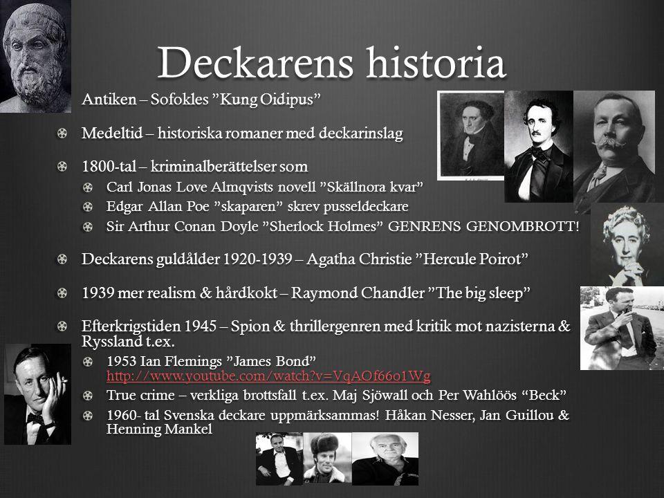 """Deckarens historia Antiken – Sofokles """"Kung Oidipus"""" Medeltid – historiska romaner med deckarinslag 1800-tal – kriminalberättelser som Carl Jonas Love"""