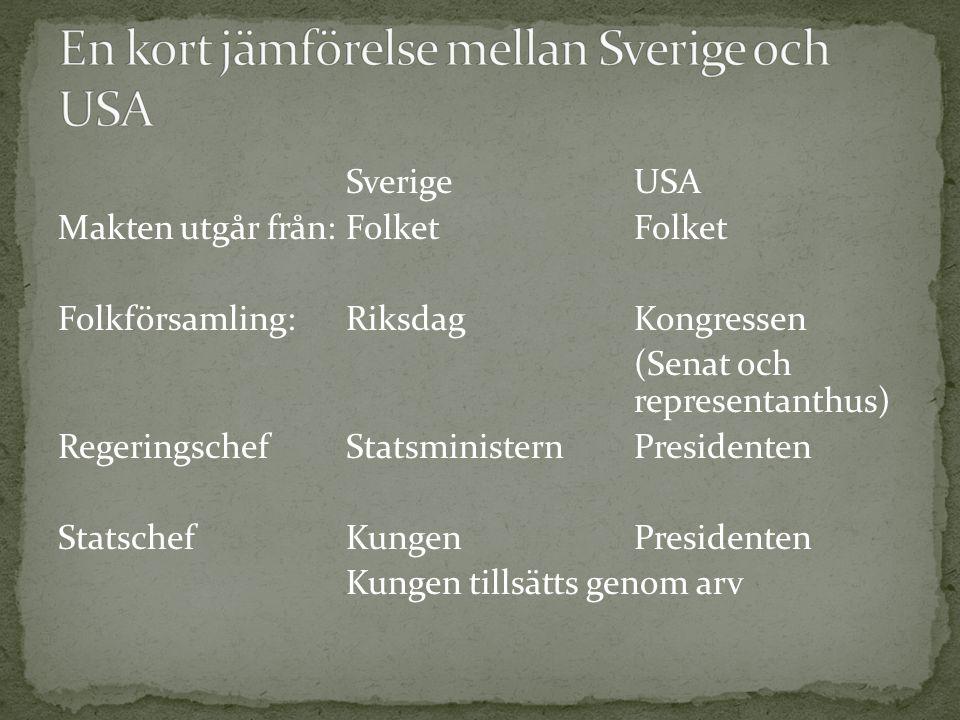 SverigeUSA Makten utgår från:FolketFolket Folkförsamling:RiksdagKongressen (Senat och representanthus) RegeringschefStatsministernPresidenten Statsche