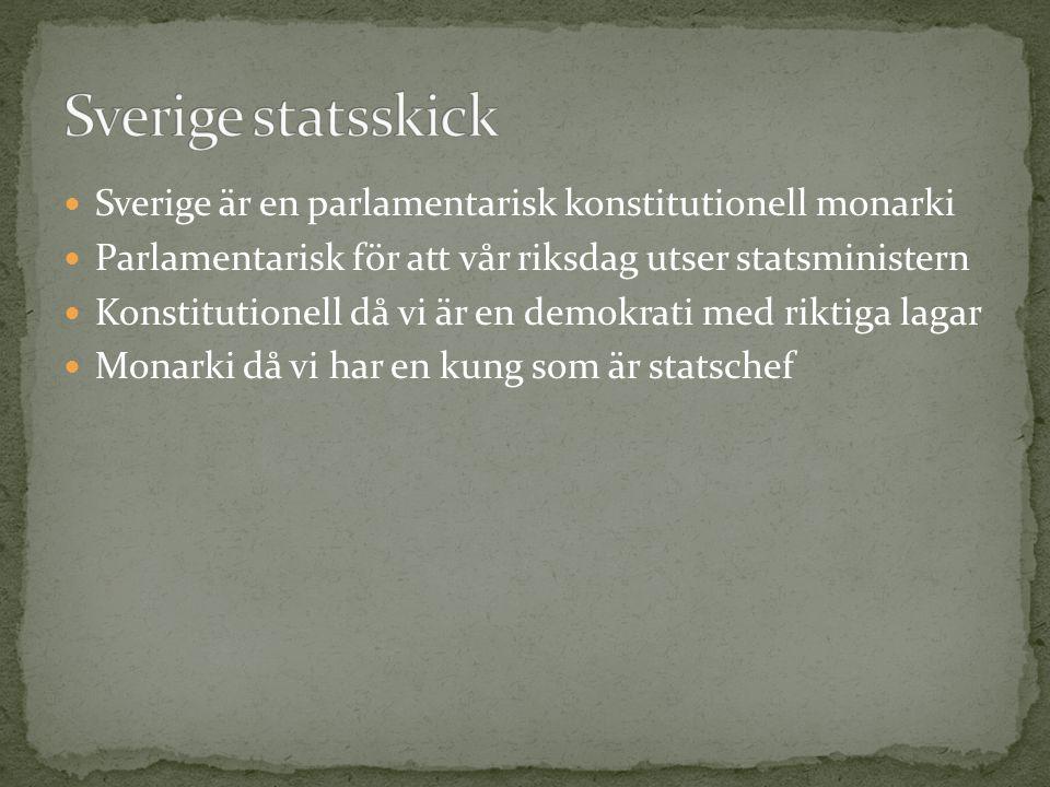 Sverige är en parlamentarisk konstitutionell monarki Parlamentarisk för att vår riksdag utser statsministern Konstitutionell då vi är en demokrati med