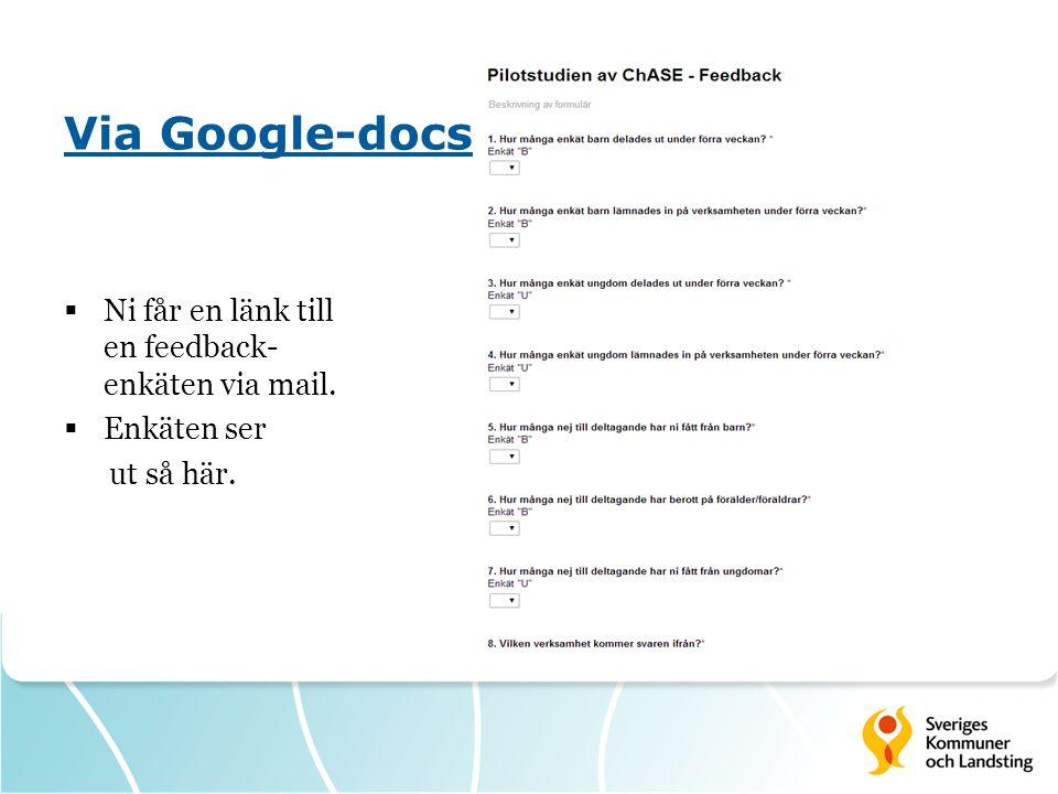 Via Google-docs  Ni får en länk till en feedback- enkäten via mail.  Enkäten ser ut så här.