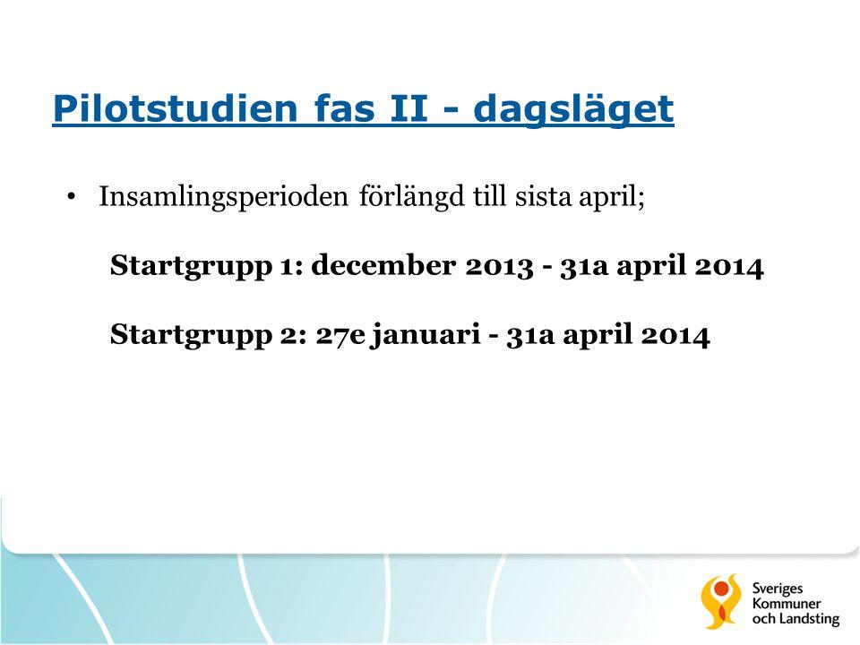 Pilotstudien fas II - dagsläget Insamlingsperioden förlängd till sista april; Startgrupp 1: december 2013 - 31a april 2014 Startgrupp 2: 27e januari - 31a april 2014