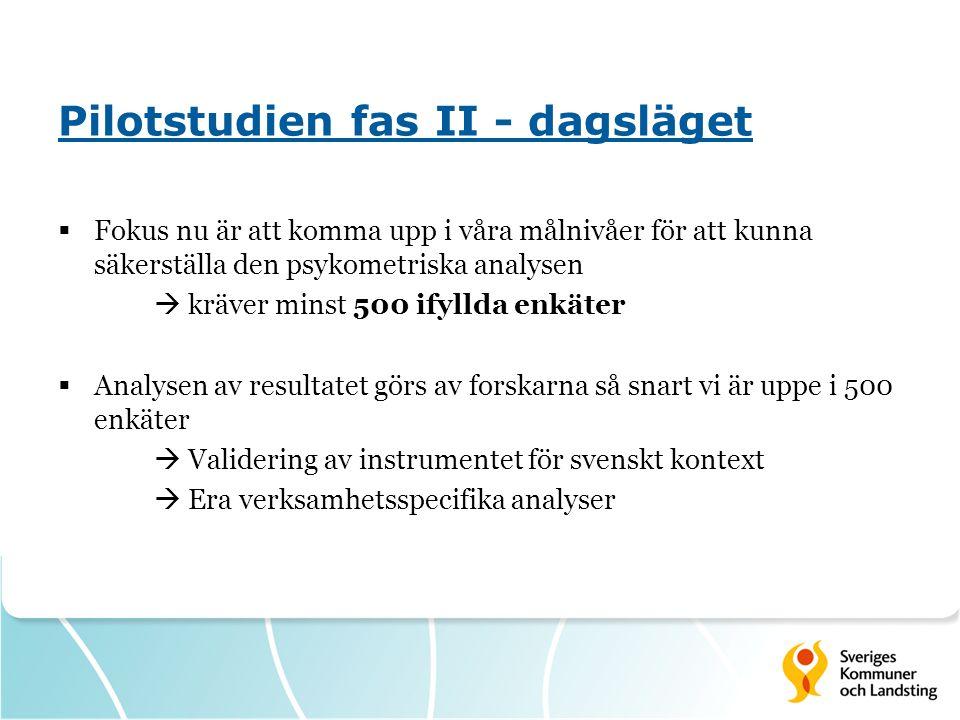 Pilotstudien fas II - dagsläget  Fokus nu är att komma upp i våra målnivåer för att kunna säkerställa den psykometriska analysen  kräver minst 500 ifyllda enkäter  Analysen av resultatet görs av forskarna så snart vi är uppe i 500 enkäter  Validering av instrumentet för svenskt kontext  Era verksamhetsspecifika analyser