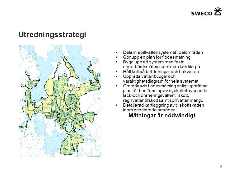 5 Utredningsstrategi Dela in spillvattensystemet i delområden Gör upp en plan för flödesmätning Bygg upp ett system med fasta nederbördsmätare som man