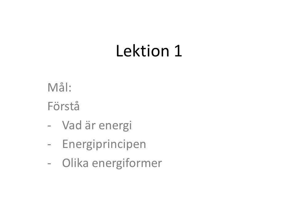 Lektion 1 Mål: Förstå -Vad är energi -Energiprincipen -Olika energiformer
