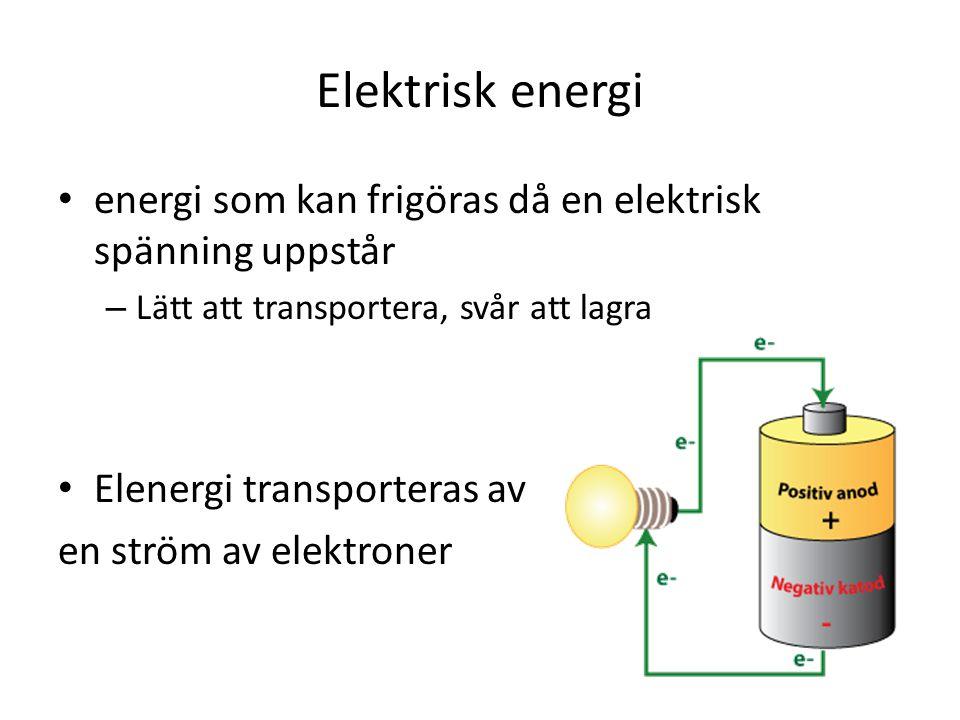 Elektrisk energi energi som kan frigöras då en elektrisk spänning uppstår – Lätt att transportera, svår att lagra Elenergi transporteras av en ström av elektroner