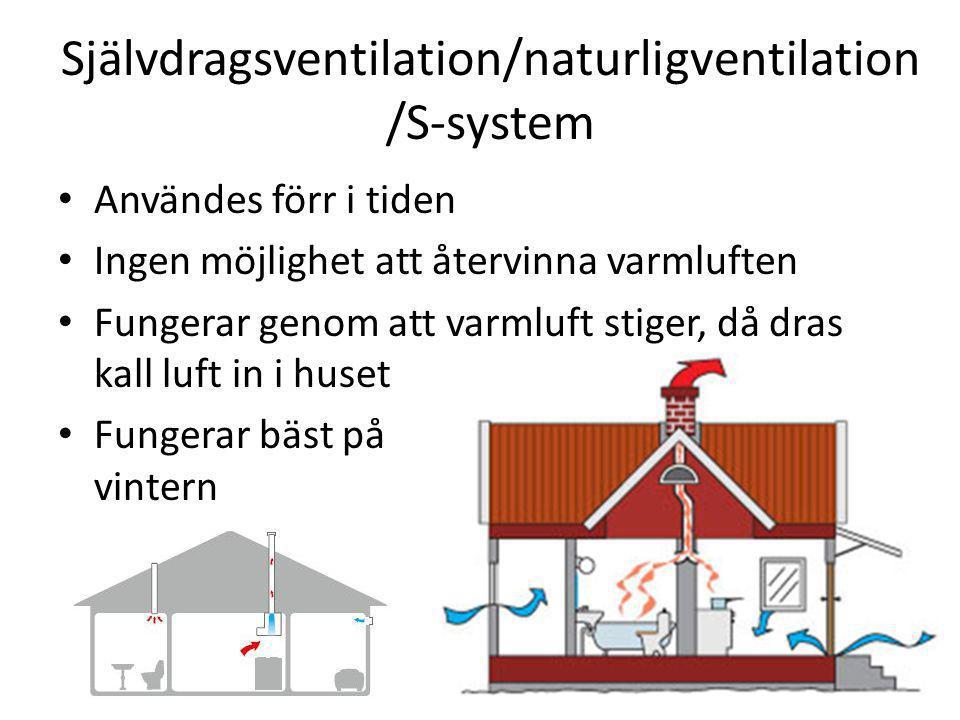 Självdragsventilation/naturligventilation /S-system Användes förr i tiden Ingen möjlighet att återvinna varmluften Fungerar genom att varmluft stiger,