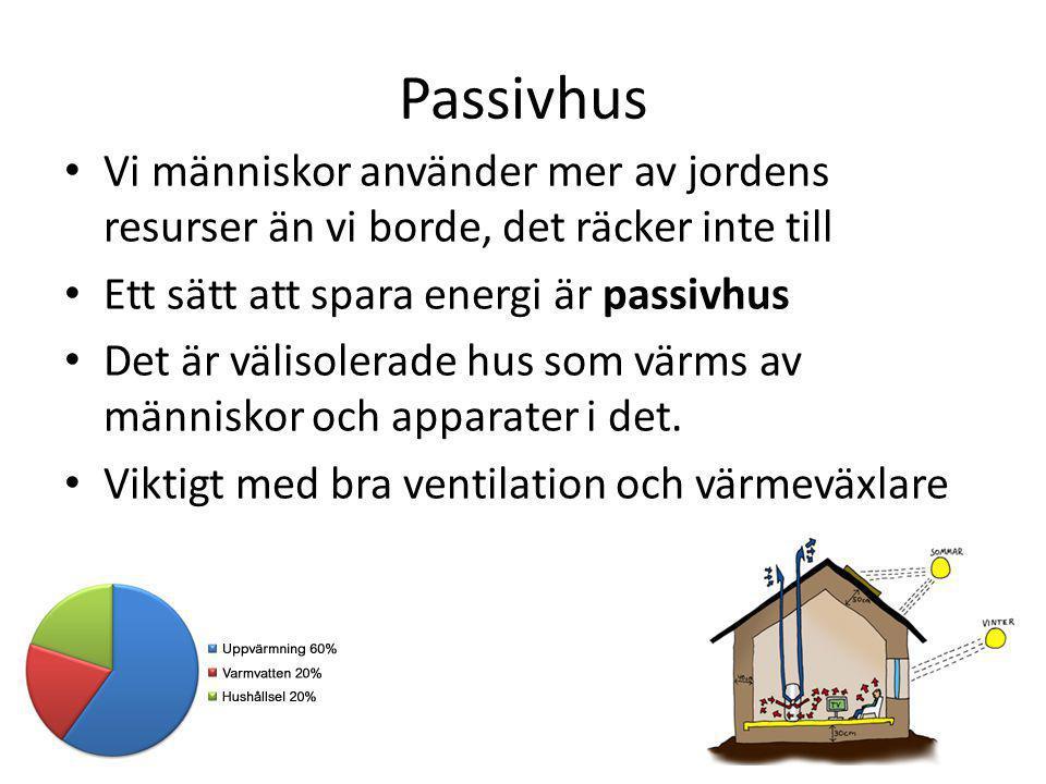 Passivhus Vi människor använder mer av jordens resurser än vi borde, det räcker inte till Ett sätt att spara energi är passivhus Det är välisolerade h