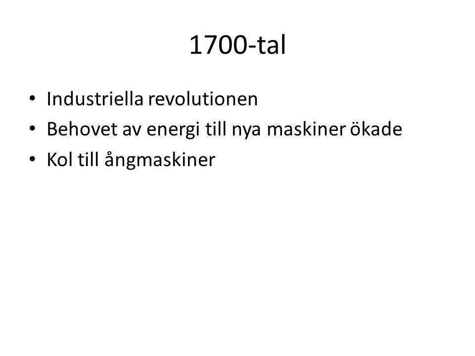 1700-tal Industriella revolutionen Behovet av energi till nya maskiner ökade Kol till ångmaskiner