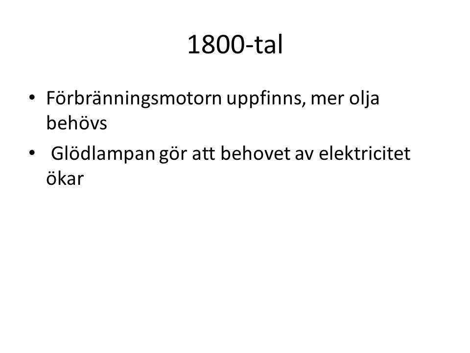 1800-tal Förbränningsmotorn uppfinns, mer olja behövs Glödlampan gör att behovet av elektricitet ökar