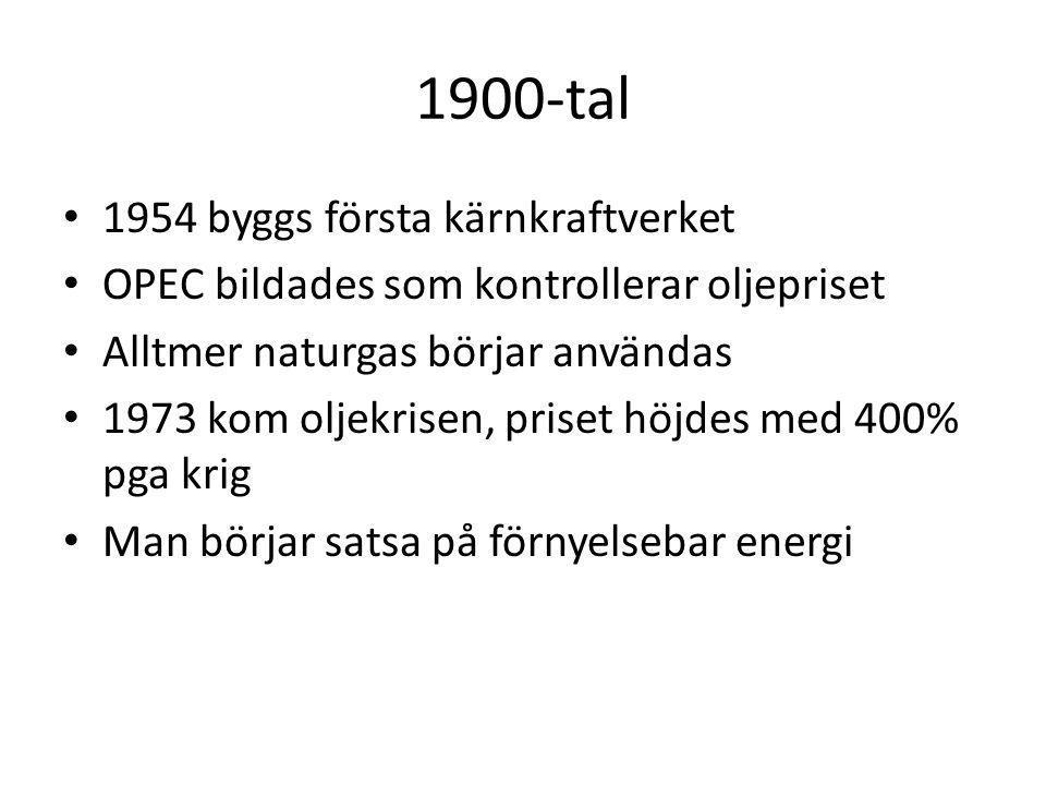 1900-tal 1954 byggs första kärnkraftverket OPEC bildades som kontrollerar oljepriset Alltmer naturgas börjar användas 1973 kom oljekrisen, priset höjd