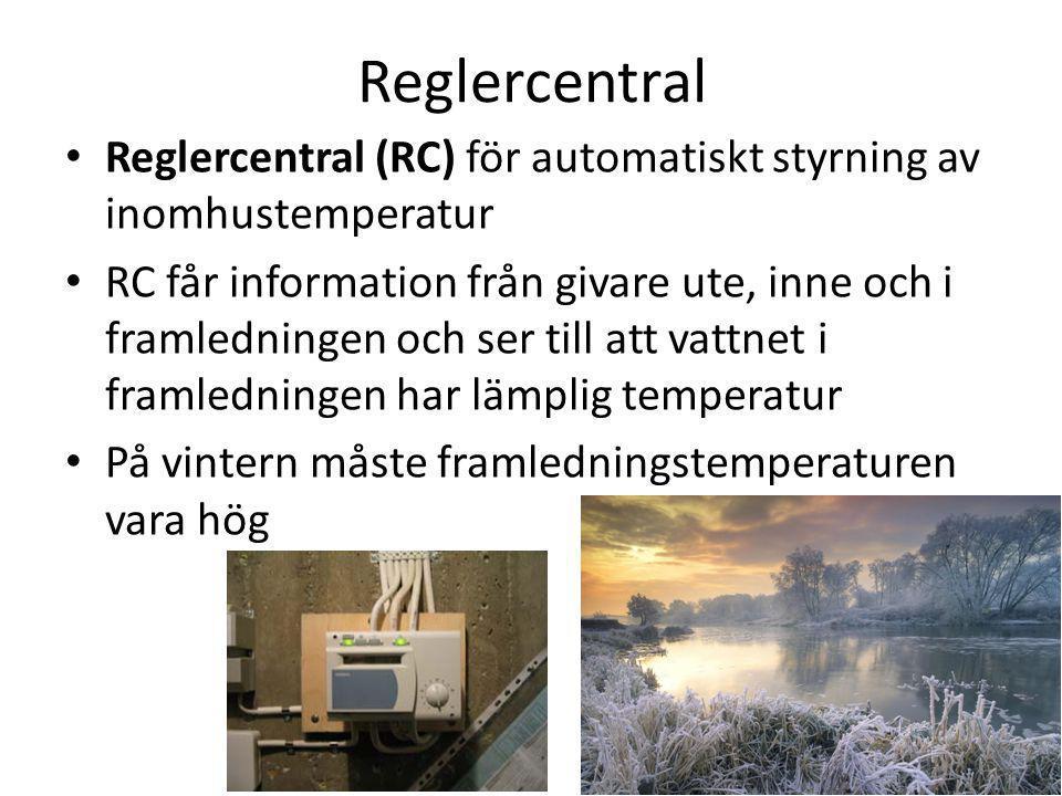 Reglercentral Reglercentral (RC) för automatiskt styrning av inomhustemperatur RC får information från givare ute, inne och i framledningen och ser ti