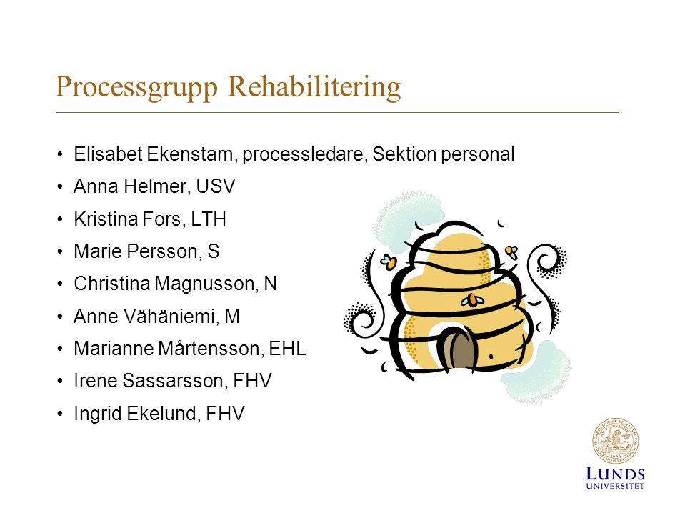 Processgrupp Rehabilitering Elisabet Ekenstam, processledare, Sektion personal Anna Helmer, USV Kristina Fors, LTH Marie Persson, S Christina Magnusso