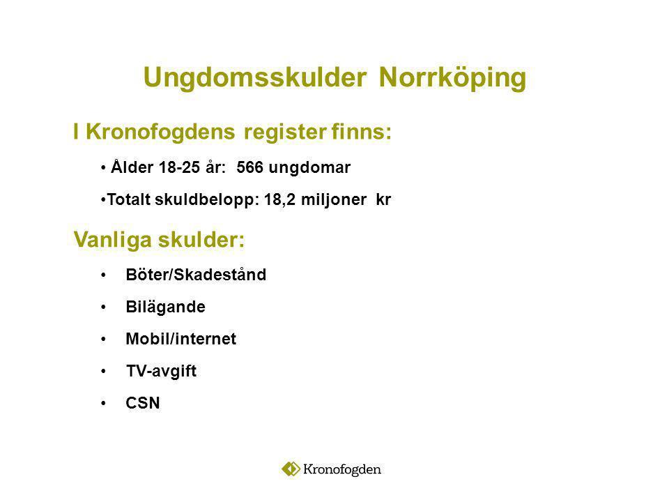 Ålder 18-25 år: 566 ungdomar Totalt skuldbelopp: 18,2 miljoner kr Vanliga skulder: Böter/Skadestånd Bilägande Mobil/internet TV-avgift CSN Ungdomsskulder Norrköping I Kronofogdens register finns: