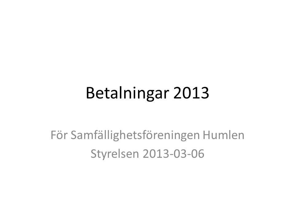 Betalningar 2013 För Samfällighetsföreningen Humlen Styrelsen 2013-03-06